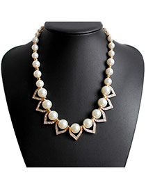 Fashion White Pearl Decorated Simple Design Alloy Beaded Necklaces