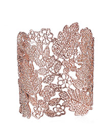 Personality Rose Gold Leaf Pattern Decorated Hollow Out Design Alloy Fashion Bangles