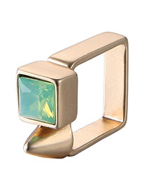 Personality Gold Color+green Diamond Decorated Square Shape Design Alloy Fashion Rings