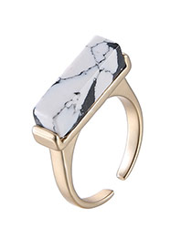 Retro White Rectangle Shape Decorated Opening Design Alloy Fashion Rings
