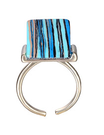 Retro Blue Square Gemstone Decorated Opening Design Alloy Fashion Rings