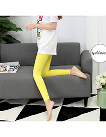 Fashion Yellow Pure Color Simple Design  Cotton Trousers