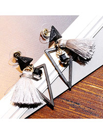 Sweet Gray Triangle Shape Decorated Tassel Design  Alloy Stud Earrings