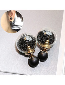 Sweet Black Small Beads Decorated Simple Design Alloy Stud Earrings
