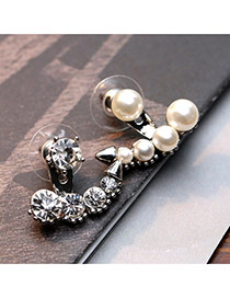 Trendy Silver Color Peal&diamond Decorated Anchor Shape Design