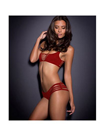 Sexy Red Pure Color Decorated Hollow Out Strip-type Design Polyester Sexy Bikini