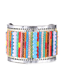 Bohemia Multi-color Beads Weaving Decorated Open Wide Design  Alloy Fashion Bangles