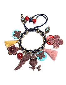 Vintage Multi-color Multi-element Decorated Beads Weaving Design  Alloy Fashion Bracelets