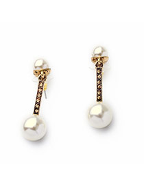 Elegant Gold Color+white Pearl Decorated Symmetry Design