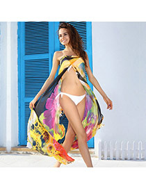 Sexy Yellow Flower Pattern Simple Design Bikini Cover Up Smock