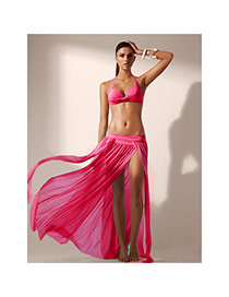 Sexy Plum Red Pure Color Simple Design Sarong Skirt(Without Bikini)