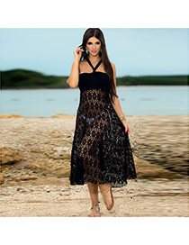 Sexy Black Pure Color Oval Pattern Hollow Out Design Bikini Cover Up Smock  Polyester Swimwear Accessories
