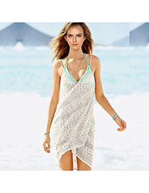 Sexy Beige Flower Pattern Hollow Out V-neck Design Bikini Cover Up Smock