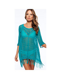 Sexy Blue Tassel Decorated Knitting Hollow Out Design Bikini Cover Up Smock  Cotton Swimwear Accessories