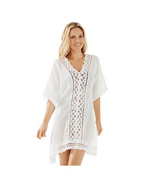 Sexy White Short Sleeve V-neck Loose Design Bikini Cover Up Smock  Chiffon Swimwear Accessories