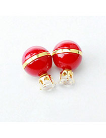 Personality Red Candy Color Diamond Decorated Ball Shape Design Alloy