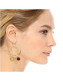 Trendy Gold Color Flower Decorated Circle Shape Design