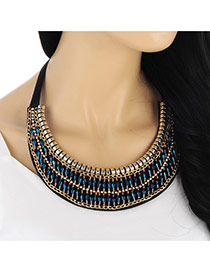 Fashion Blue Beads Weaving Decorated Crescent Collar Design