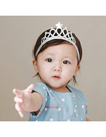 Cute Silver Color Star&diamond Decorated Crown Shape Design Fabric Kids Accessories