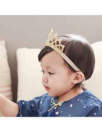 Cute Gold Color Star&diamond Decorated Crown Shape Design Fabric Kids Accessories