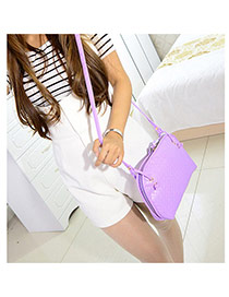 Fashion Purple Pure Color Decorated Rhombus Shell Pattern Design Pu Messenger bags