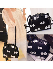 Cute Bkack Panda Eye Pattern Decorated Shell Shape Design  Pu Shoulder bags