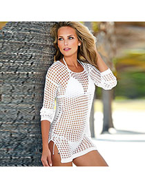 Sexy White Long Sleeve Hollow Out Mesh Decorated Short Design  Cotton Swimwear Accessories