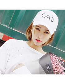 Fashoin White Letter Sad Embroidery Decorated Pure Color Design Canvas Baseball Caps