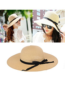 Elegant Beige Bowknot Decorated Pure Colore Round Eaves Design  Straw Sun Hats