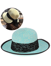 Elegant Light Blue Lace Bowknot Decorated Pure Color Design  Straw Sun Hats
