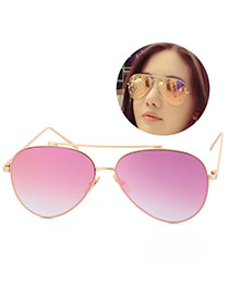 Fashion Pink Metal Decorated Reflective Film Simple Design Resin Women Sunglasses