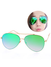 Fashion Green Metal Decorated Reflective Film Simple Design Resin Women Sunglasses Reviews