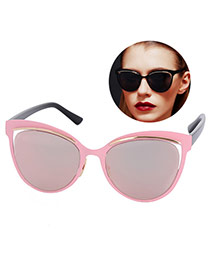 Personality Pink Cat Eyes Shape Frame Simple Design Resin Women Sunglasses