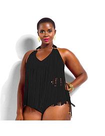 Sexy Black Pure Color Tassel Decorated Connection Design Dacron Monokini