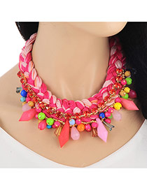 Retro Pink Bullet Shape Beads Decorated Weave Design