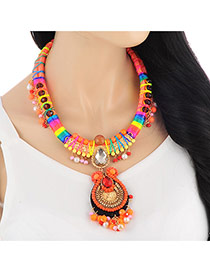 Retro Orange Water Drop Pendant Decorated Weave Design Alloy Bib Necklaces