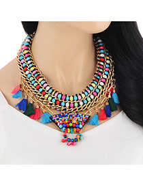 Retro Multicolor Tassel Decorated Weave Multilayer Design