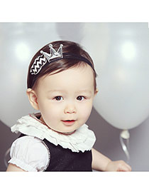 Sweet Silver Color Crown&cloud Decorated Simple Design  Fabric Kids Accessories