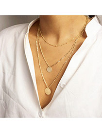 Personality Gold Color Round Pendant Decorated Multilayer Design Alloy Chains