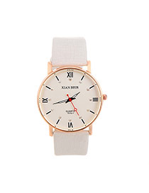 Casual White Diamond&roman Numerals Decorated Round Case Design  Pu Ladies Watches