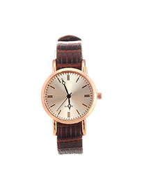 Fashion Brown Line Decorated Round Case Design  Pu Ladies Watches