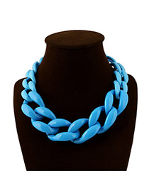 Exaggerate Light Blue Chain Shape Weaving Decorated Pure Color Short Design Acrylic Bib Necklaces