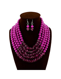Fashion Purple Beads Decorated Multilayer Collar Shape Design  Acrylic Jewelry Sets