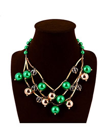 Elegant Gold Color+green Beads Weaving Decorated Collar Design