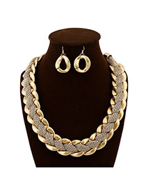 Luxury Gold Color Metal Chain Weaving Decorated Collar Design Alloy Jewelry Sets