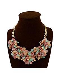 Exaggerate Multi-color Geometric Shape Petal Weaving Decorated Simple Design Alloy Bib Necklaces