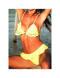 Sexy Yellow Flouncy Decorated Hollow Out Design  Polyester Sexy Bikini