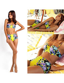 Sexy Yellow Peony Pattern Decorated High Waist Design