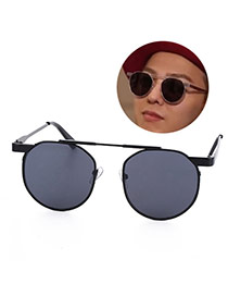 Fashion gray Round Shape Frame Decorated Simple Design Alloy%2brosin Women Sunglasses