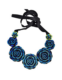 Vintage Blue Big Flower Decorated Collar Design